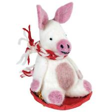 Piggles the Sledding PIG ORNAMENT Felted Sheep Wool Fair Trade Holiday Animals