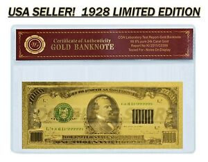 24K .999 GOLD 1928 $1000 GOLD CERTIFICATE BANKNOTE W/ COA (CERT OF AUTHENTICITY)