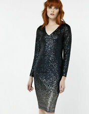 BNWT Monsoon Heidi Black Ombre Sequin Long Sleeve Evening Occasion Dress Size 14