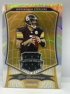 Roethlisberger Pittsburgh Steelers 2009 Bowman Sterling Game Jersey Patch 21/25!