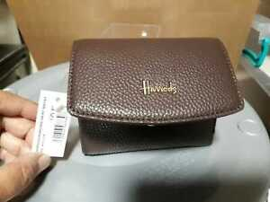 HARRODS Wimbledon BROWN short Wallet 3 x 4in  Wonderful NEW with TAG * L@@@K