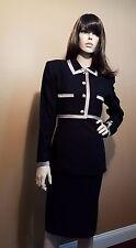 Heiser Egan Designer 3 Piece Suit Black Jacket Blazer Camisole & Skirt, US 6