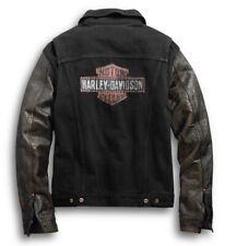Harley Davidson Leather Sleeve Denim Jacket Graphic Distressed Black XL VTG