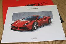 FERRARI 488 GTB Lithograph - Design Sketch - no brochure Prospekt 95998182