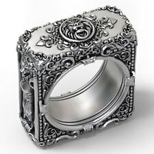 Domineering Men African Lion King Head Square Punk Viking Lion Rings Size 7-13