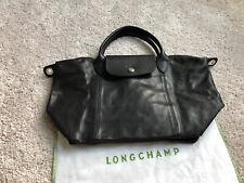 NWT Longchamp Le Pliage Cuir Small Top Handle Black Leather Neo Crossbody Bag