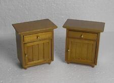 Dolls House  1:12  Furniture wood Light Oak colour 2 bedside cabinets