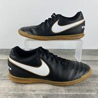 Nike Tiempo Rio III IC Indoor Soccer Men's Size 7.5 Shoes Black/Gold 819234-010