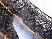 Large dentelle passementerie lin noir et jaune  XIXè 3,20 m x 7,5 cm