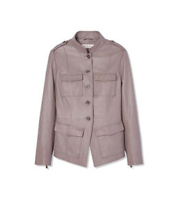 New TORY BURCH Taupe GRAY SOFT Leather Military SPARROW GRAY JACKET 4 6 10