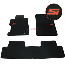 For 06-11 Honda Civic 2Dr 4Dr Floor Mats Carpet Front & Rear w/Red Si Embrodery