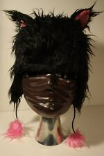 Black Cat Faux Fur Hat with Pink Kitty Ears Halloween Used Target