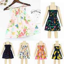 Toddler Baby Kids Girls Fashion Sleeveless Summer Print Dresses Casual Clothes
