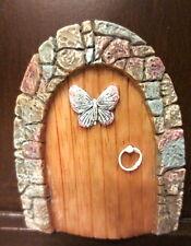 Miniature Fairy Pixie Elf Hobbit Gnome Door w/ Butterfly Enchanted Garden Home