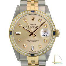 Rolex Datejust Mens Watch 36mm de dos tonos Champán Esfera Diamantes Zafiro Bisel