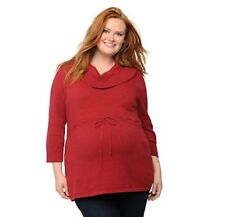 Oh Baby By Motherhood Maternity Plus Size 1X Cowl Neck Tunic Sweater Red NEW