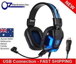 SADES Gaming Headset LED MIC Volume Control Headphones for Mac Laptop PC NEW