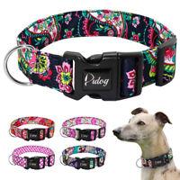 Soft Nylon Pet Dog Collar Colorful Floral Adjustable for Medium Large Dogs Boxer