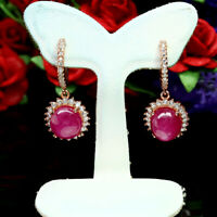 NATURAL 8 X 9 mm. RED RUBY & WHITE CZ EARRINGS 925 STERLING SILVER