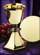 Six-Sided Base Chalice and Paten, Brass & Gold Plated