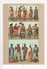 VINTAGE FASHION COSTUME PRINT ~ SOUTHERN AFRICA ~ SUDAN BECHUANA WARRIOR