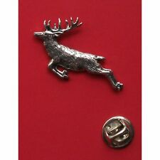 English Pewter Springing Stag (deer) Pin Badge Tie Pin / Lapel Badge (A60)