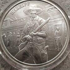 Sheriff 1 OZ .999 Silver prospector round limited gun old timer Wild West Law