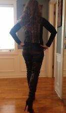 """Report Signature Kane 34"""" Thigh High Black Leather Boots Celebrity Owned NWT"""