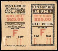 JACK DEMPSEY-GEORGES CARPENTIER ORIGINAL ON SITE TICKET STUB (1921)