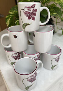 Set of 7 Feathered Tulip Botanical Design Mugs from the Met Museum NYC Portugal