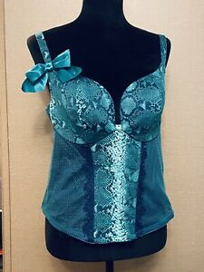 Women's CACIQUE Sz 18/20 Teal Snakeskin Pattern Corset Bustier Adj Straps