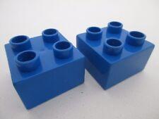 LEGO DUPLO 3437 - x2 Brique Brick 2x2 - Bright Blue Bleu