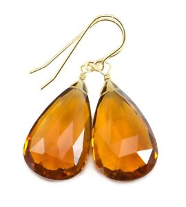 Citrine Earrings Yellow Faceted Pear X Large Drops Sim Simple 14k Gold Sterling