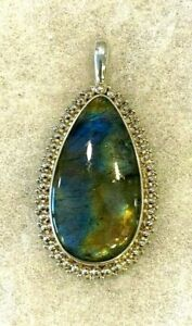 Sajen Labradorite Pear Shape Pendant in Beaded Frame 2 1/4 In. Long - 16.6 Grams