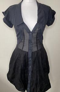 AllSaints Black & Grey Anglais Dress Size 8 Collar Buttons Cotton