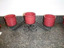 Longaberger Wrought Iron 3 Tier Candle Holder w/ 3 Paprka One Pint Crocks