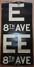 1930's Antique NYC New York City Subway Front Destintion Roll Sign E 8th AVE EE