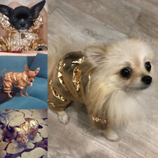 Cute Pet Dog Puppy Winter Warm Gold Costume Clothes Jumpsuit Apparel Jacket G