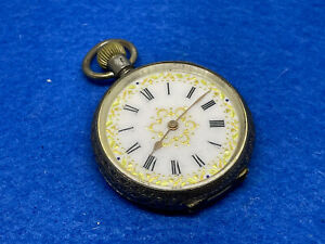 Ladies 0.935 Silver Decorative Dial Pin Set Open Face Fob Pocket Watch