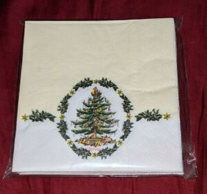 "Gibson SPODE Christmas Tree Paper Napkins 16 Pack Beverage NEW 9.75"" Square NIP"