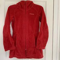 Columbia Red Full Zip Benton Springs Long Fleece Hoodie Jacket Women's Size XS