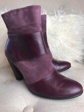 Ecco Wine Color Block Leather Suede Ankle Boot Booties Heels Sz 7/38