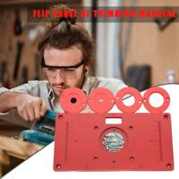 DIY Router Table Insert Plate-Ring Aluminum Plate w/4 Rings Screws Woodworking