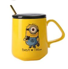 Lovely Yellow Minions Despicable Me Coffee mug with lid&spoon Ceramic Water Cups