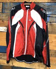 Louis Garneau Cycling Jersey Jacket Long Sleeve Winter Red Black Mens Large L