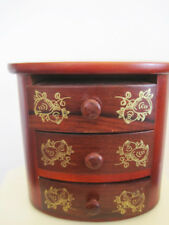 Dark Stained Teak wood Jewelry Box floral gold leaf oval 3 drawer