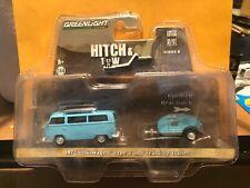1/64 GREENLIGHT HITCH & TOW 1972 VOLKSWAGEN TYPE 2 BUS & TEARDROP TRAILER BLUE