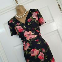 Country Casuals Dress UK 12 P Black Multi Floral Print Stretch Wedding Occasion