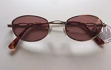 Vintage 90s 2000s Brown Tint Sunglasses Oval Gold Frame Tortoiseshell Deadstock