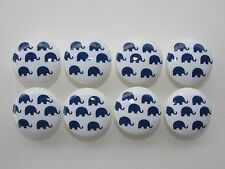 Set of 8 Navy Blue Elephant Dresser Drawer Knobs Pulls